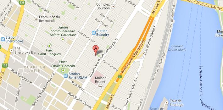 Carte Google Map - Studio le Hublot enregistrement Montreal